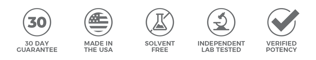 30 day guarantee, made in the USA, solvent free, independent lab tested verified potency